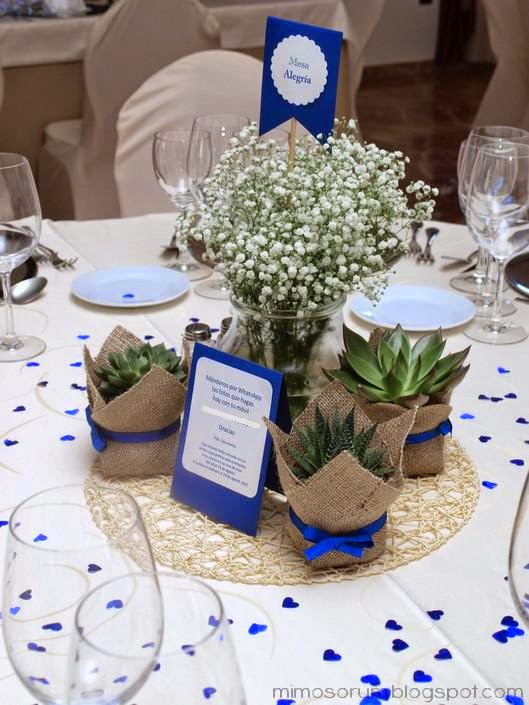 mimosorum centros de mesa con plantas naturales