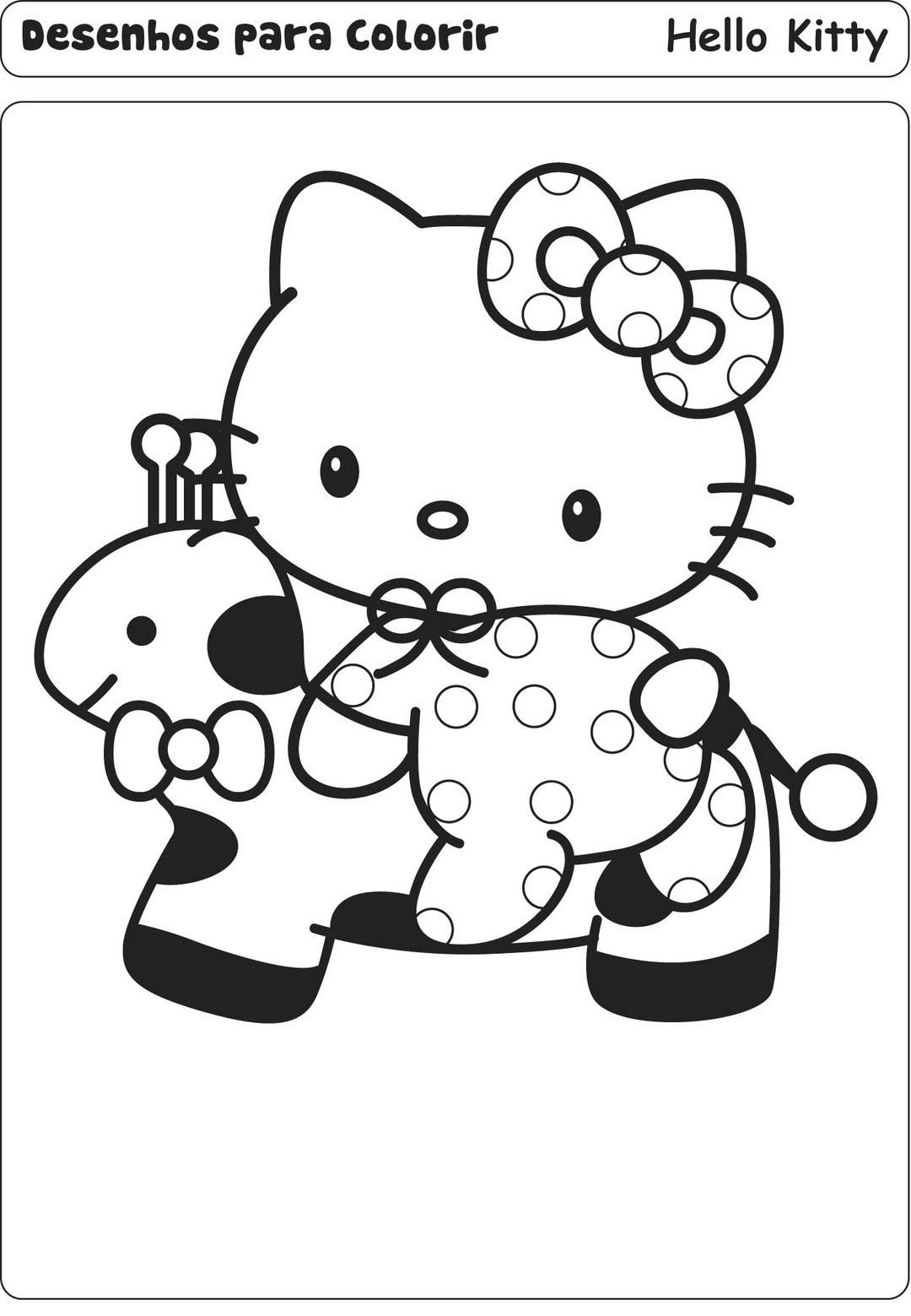 Desenhos Para Colori hello kitty com animais desenhar