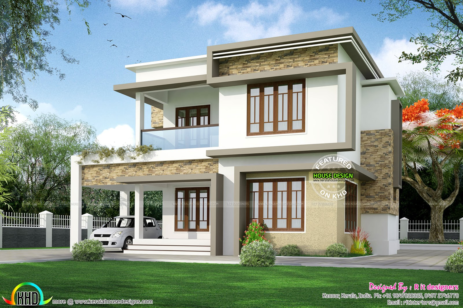 Front Elevation Of Different Houses : Two different elevation with same house plan kerala home