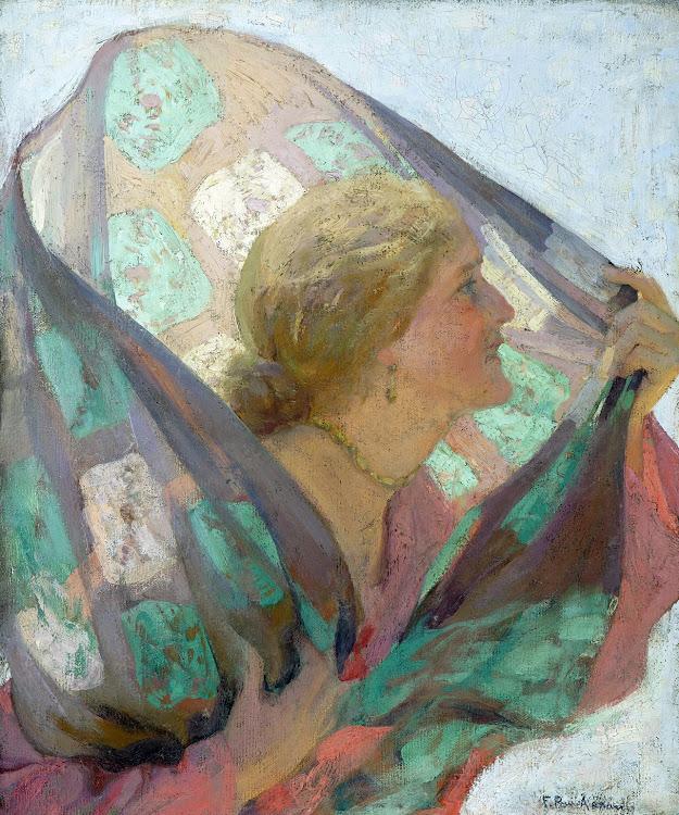 Dama con chal al viento, Francisco Pons Arnau, pintor Valenciano