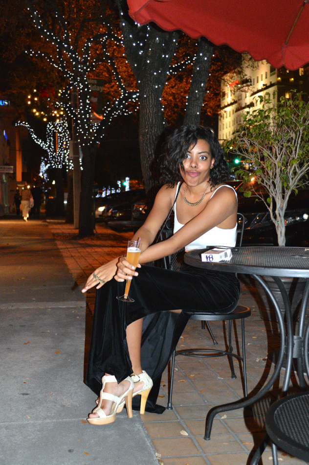 Fashion Blogger Anais Alexandre of Down to Stars at My Bestfriend's Closet Holiday Event in a vintage velvet maxi skirt with an American Apparel tank and Chinese Laundry heels