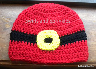 Swirls and Sprinkles, Santa suit hat, free crochet pattern