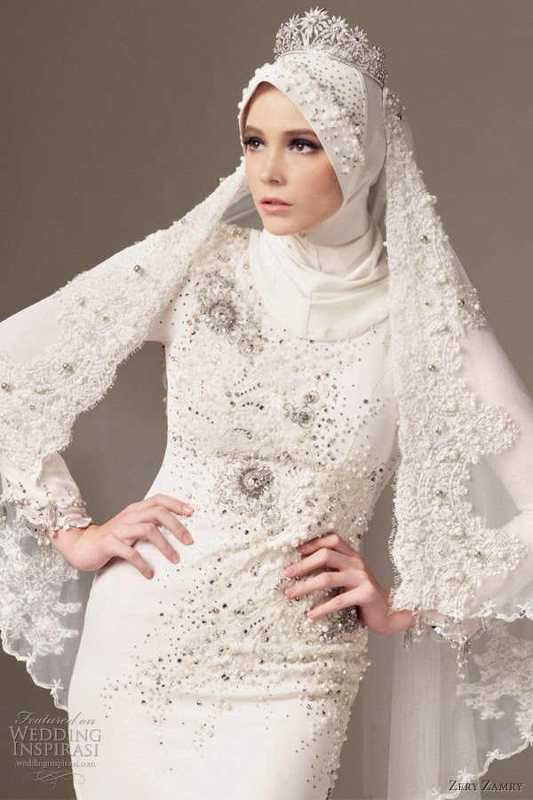 Muslim Wedding Dresses With Sleeves And Hijab Fashion Style