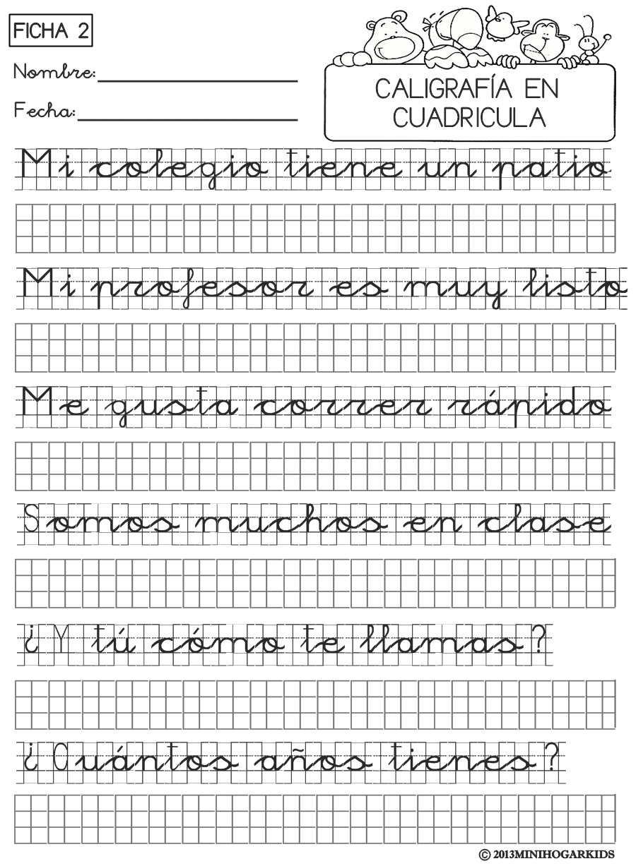 de caligrafía para aprender a escribir en hojas cuadriculadas