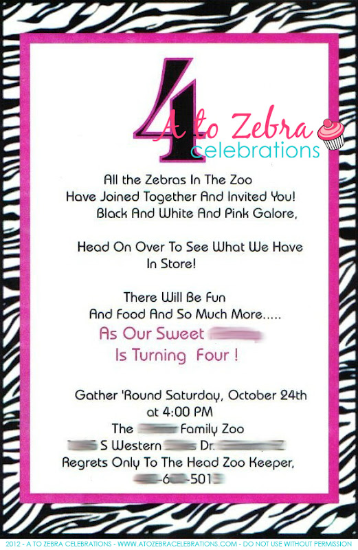 Zebra Birthday Party A to Zebra Celebrations