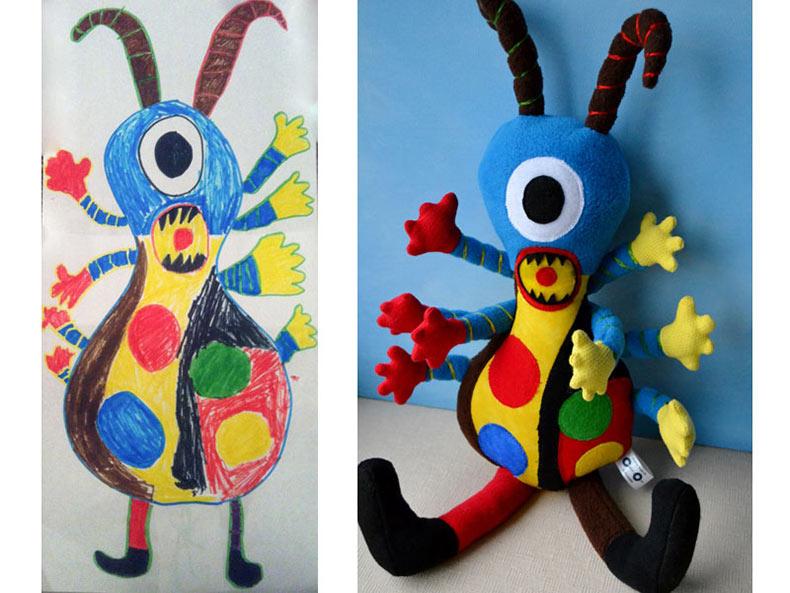 Artista transforma dibujos para niños en peluches