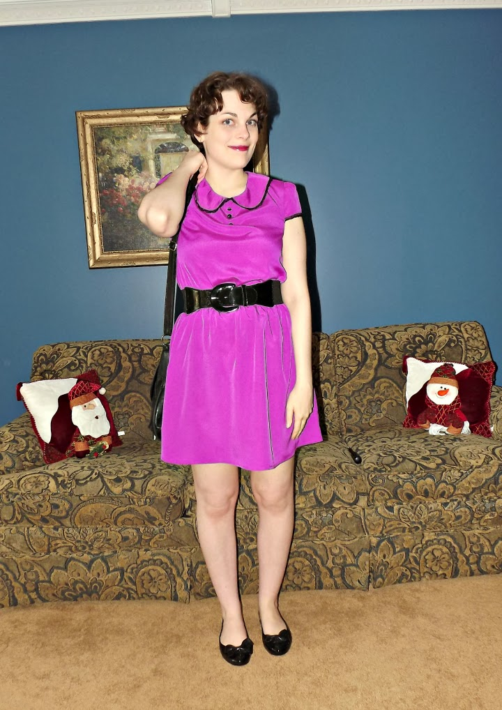 purple peter pan collar dress, Mimi Chica dress, black trim and black buttons on purple dress, purple polyester dress, black Mel tangerine shoes, Suzanne Amlin, A Coin For the Well, Windsor Ontario fashion blogger, style blog, black bow ballet flats, jelly shoes, Melissa plastic shoes