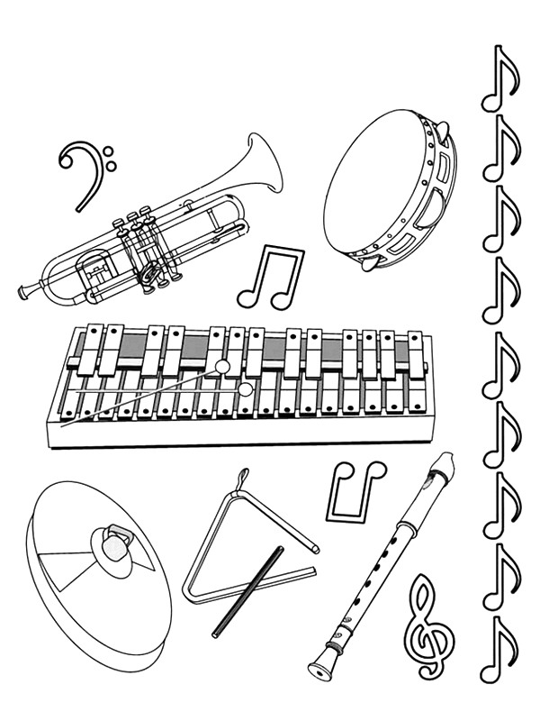 instrument coloring pages Kids Under 7: Musical instruments Coloring Pages instrument coloring pages