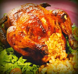 Pollo al horno relleno de tacu tacu
