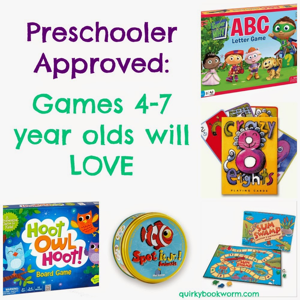 Preschooler Approved: Games 4-7 Year Olds will LOVE - including classics like Chutes & Ladders, Crazy Eights, and Go Fish, and new favorites like Sum Swamp, Spot It, and Hoot Owl Hoot.
