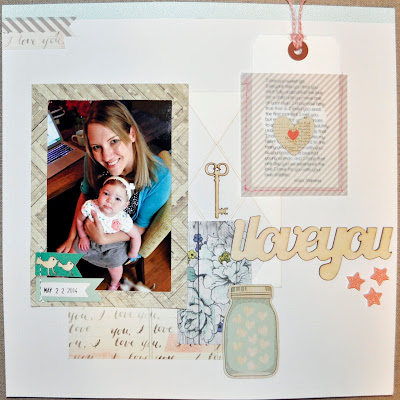 12x12 scrapbook layout kids child family daughter girl mason jar shabby chic floral flower teal blue aqua pink peach resin star i love you wood veneer chipboard tag vellum envelope washi tape wood bird baby girl key abstract white grey