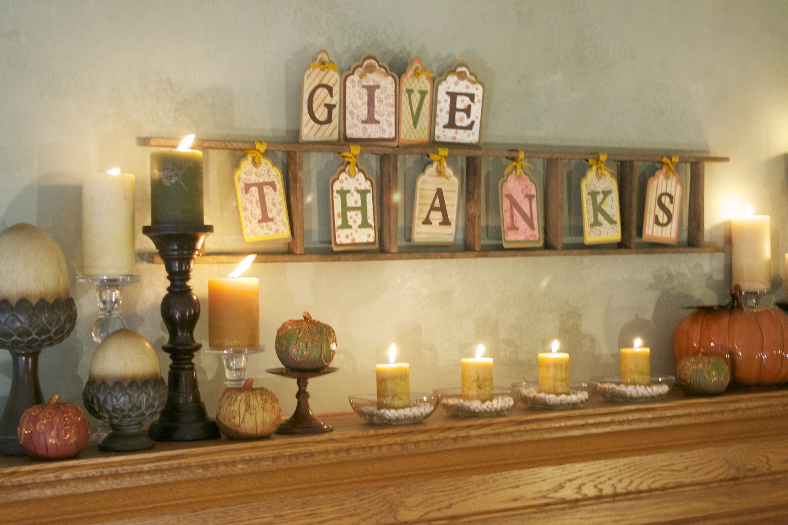 Corner of plaid and paisley thanksgiving mantel for Thanksgiving home decorations pinterest