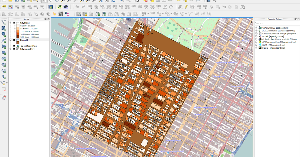 3D Visualization of Manhattan using QGIS Plugin