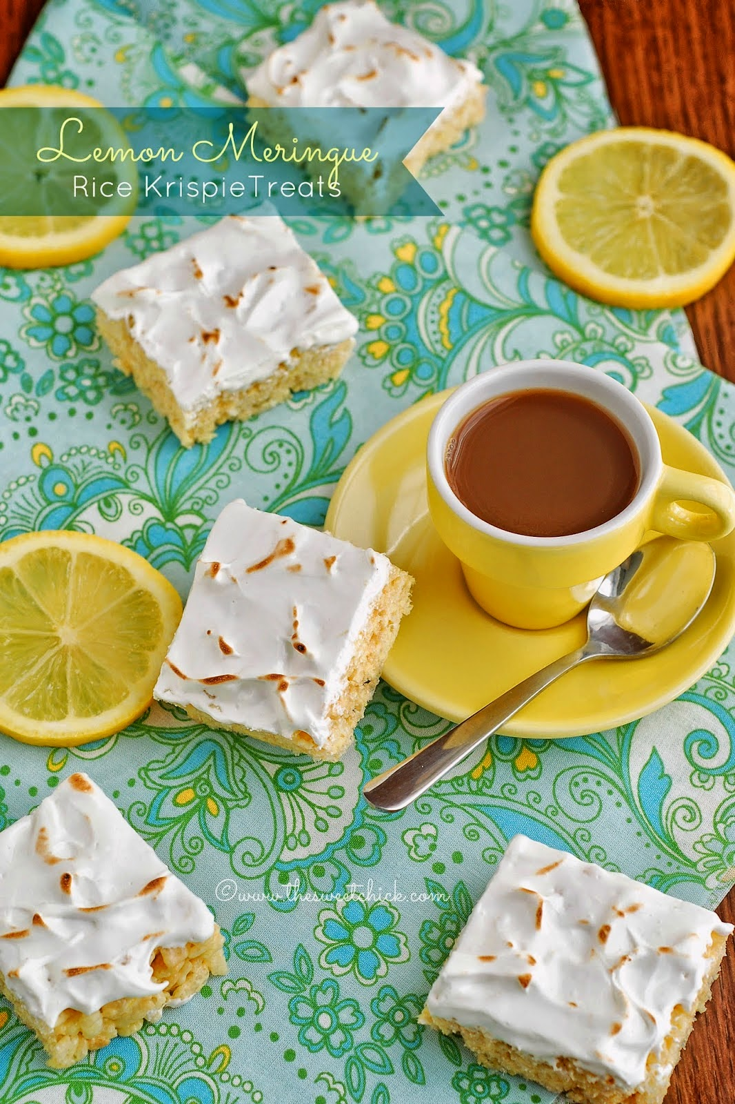 Lemon Meringue Rice Krispie Treats by The Sweet Chick