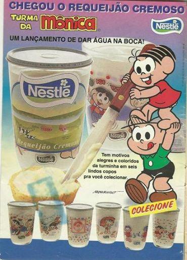 Propaganda do Requeijão da Nestlé em 1997 com copos colecionáveis da Turma da Mônica.