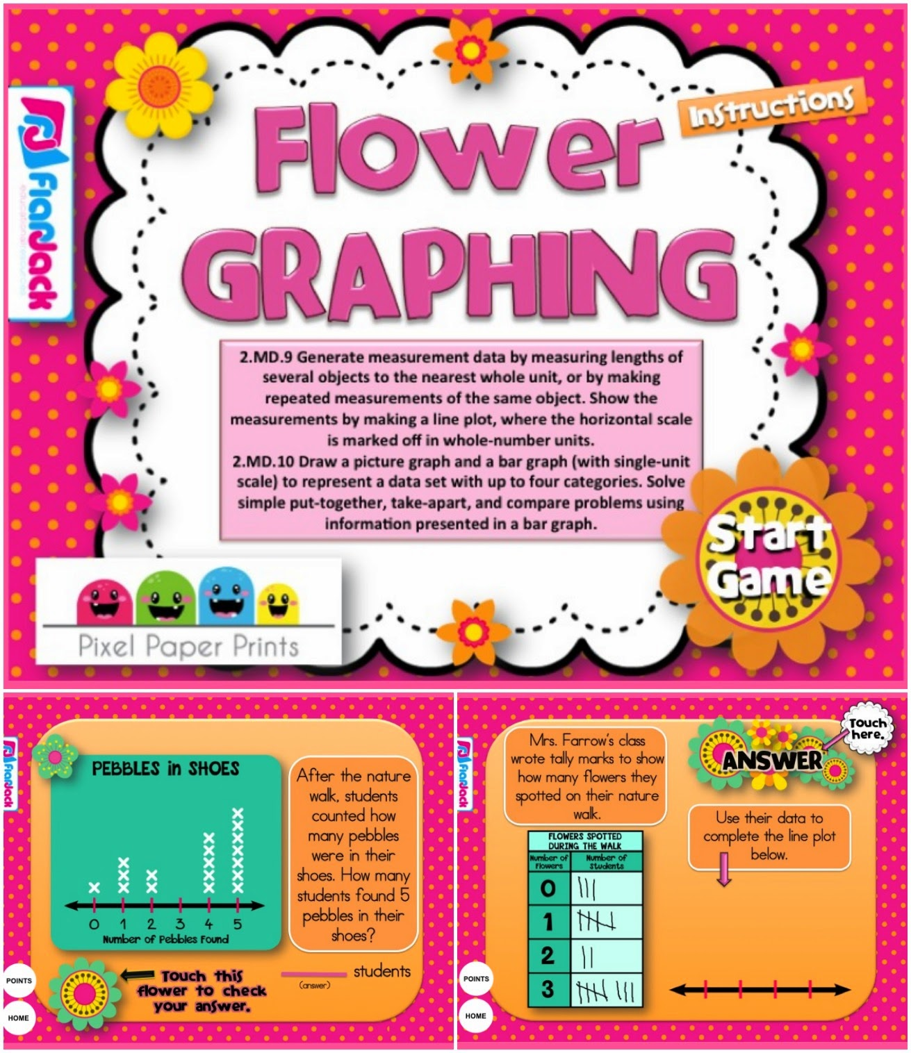 http://www.teacherspayteachers.com/Product/FREE-Flower-Graphing-Smart-Board-Game-CCSS2MD9-CCSS2MD10-1232771