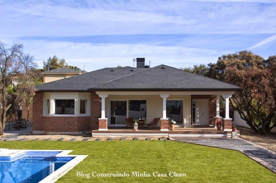 Construindo minha casa clean fachadas de casas de campo for Fachadas de casas estilo rustico moderno