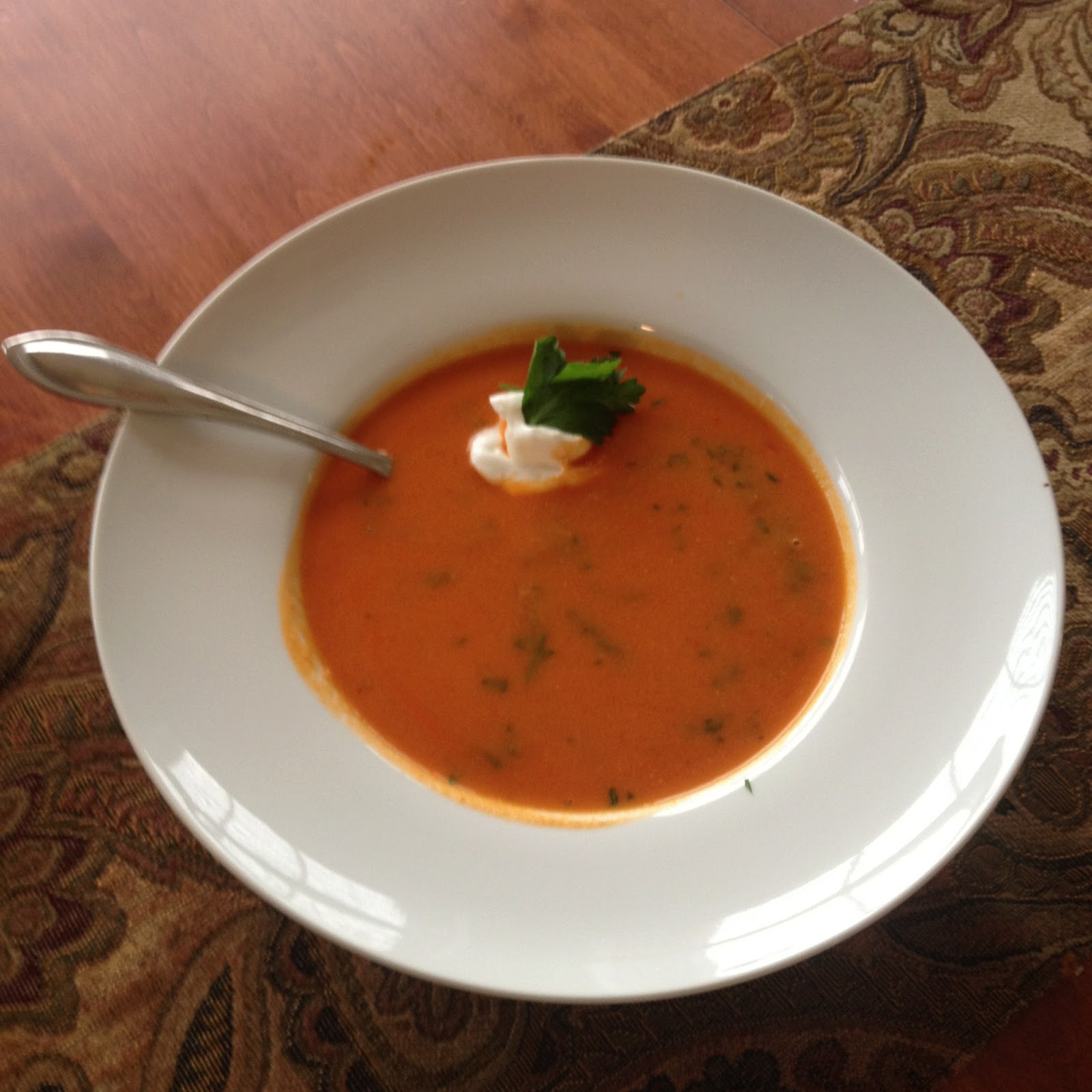 Food Chirps: Spiced Chickpea and Tomato Soup with Roasted Peppers