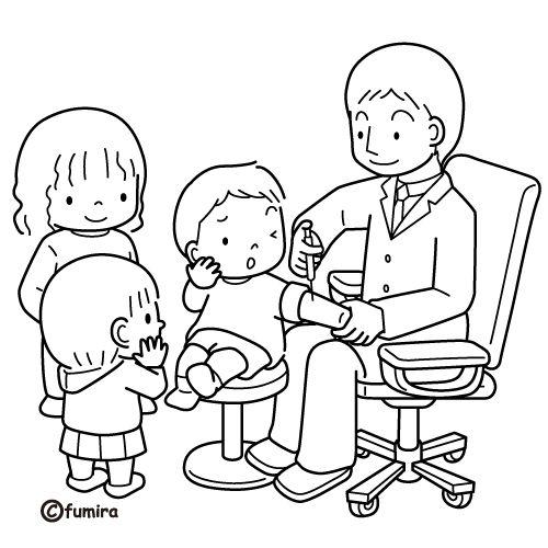 Niños que visitan al doctor para aplicarse una vacuna - Portal Escuela