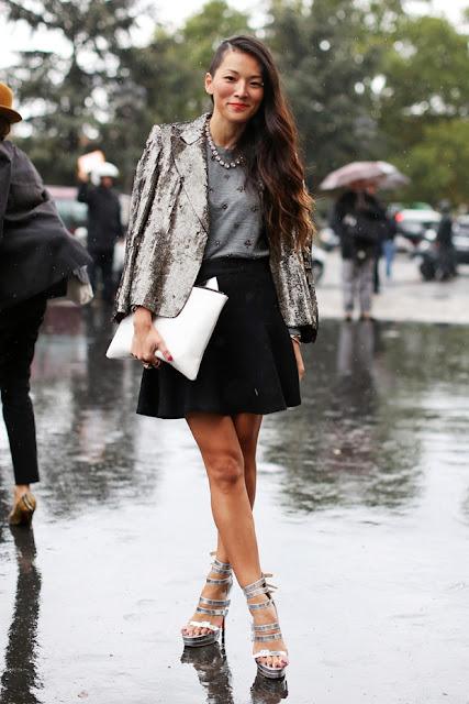 sequin blazer, street style