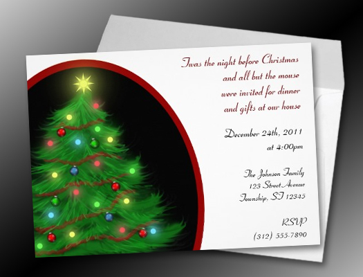 """Twas the Night"" Christmas (Eve) Tree Invitations"