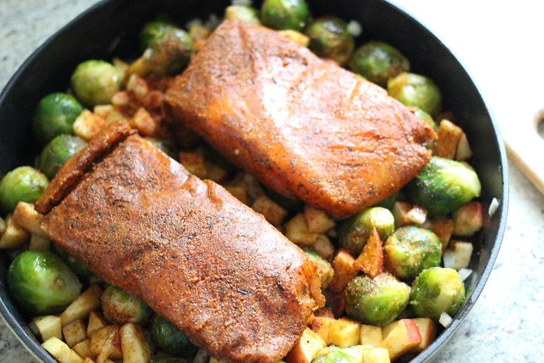 Apple Teriyaki Salmon with Brussels Sprouts