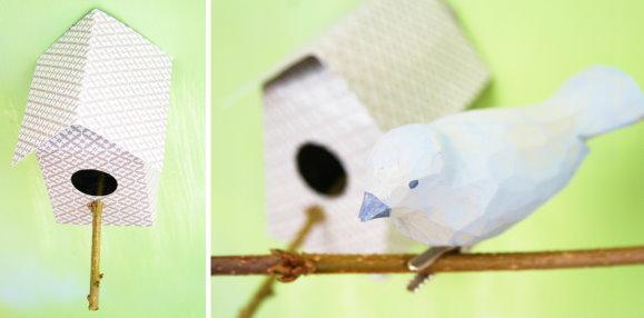 Aus Papier gefertigtes Vögelhäuschen