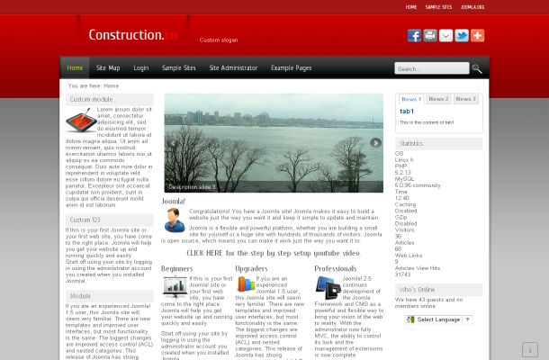 Red Gray Business Free joomla Theme Template