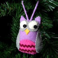 Homemade felt owl ornament