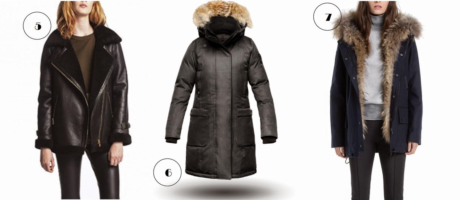 Manteau peau lainée retournée Claudie Pierlot, Doudoune Nobis Canada goose(je suis fan), Parka à fourrure Miranda Sandro