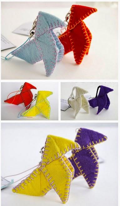 Origami cocotte en feutrine bijoux de smartphone porte-clés par Cocoflower - www.cocoflower.net