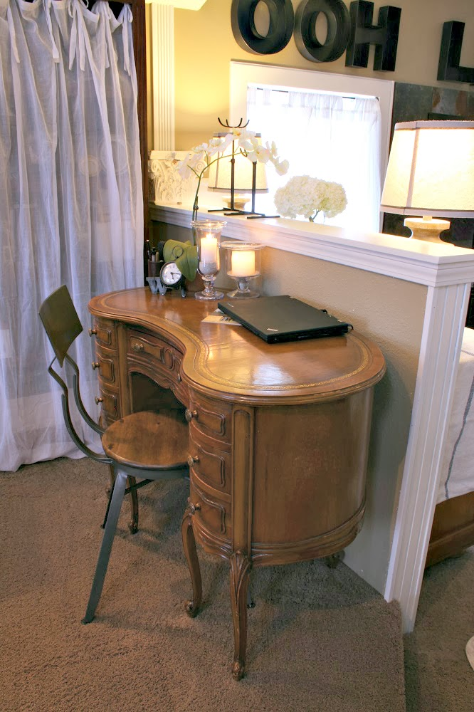 hollow metal letters, antique desk, industrial chic chair, world market