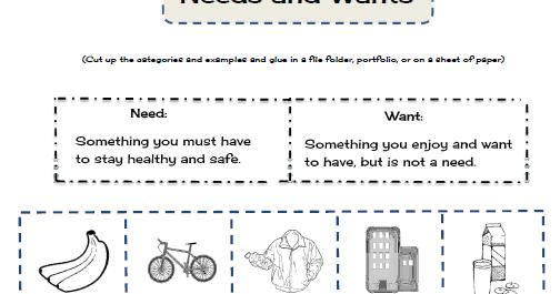 Needs Wants Worksheet - Rringband