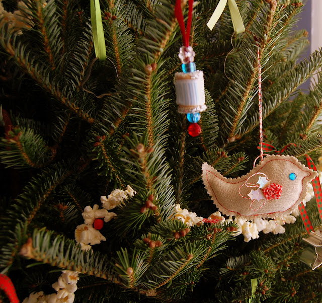 Because I'm Me handmade ornaments, fabric embellished birds