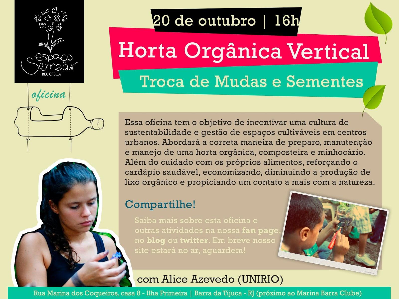Oficina de horta orgânica vertical e troca de mudas e sementes com Alice Azevedo