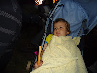 A sleepy Big Boy on a night out holding a breadstick
