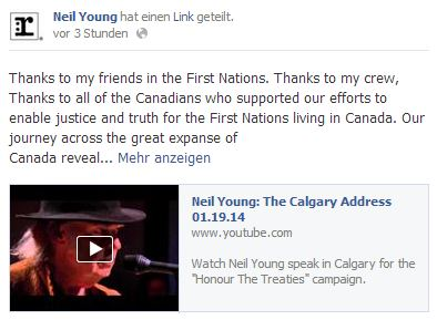 Neil Youngs Post auf Facebook