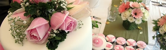 Picture of pink wedding cakes and cupcakes