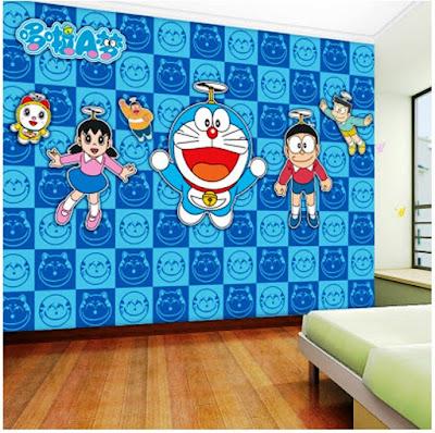 Gambar Wallpaper Dinding Kamar Tidur Anak Doraemon Murah