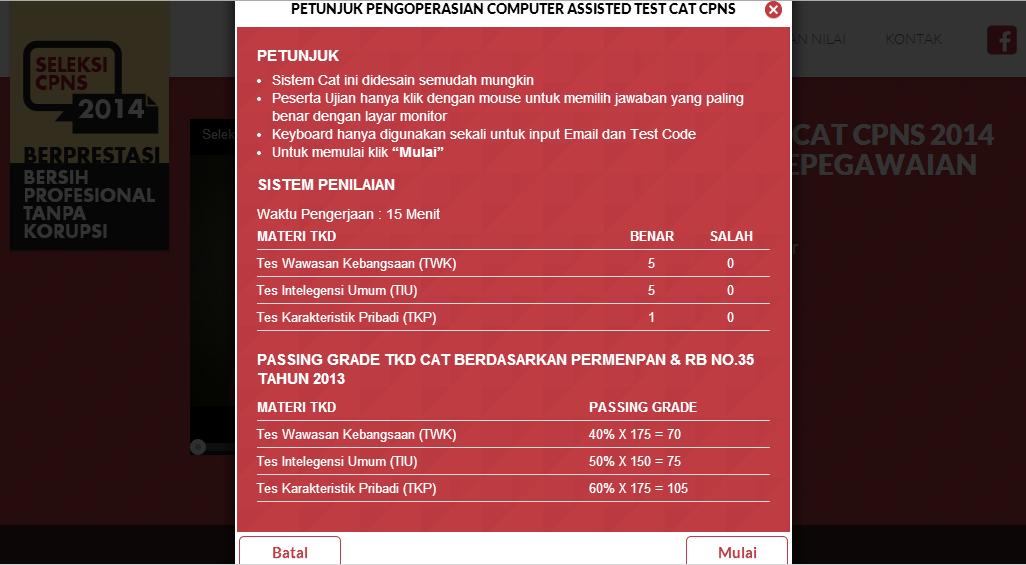 Form petunjuk CAT CPNS Menpan