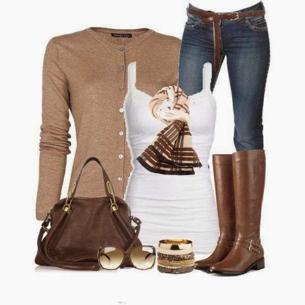 Comfortable sweater, white blouse, jeans, scarf and long boots for fall