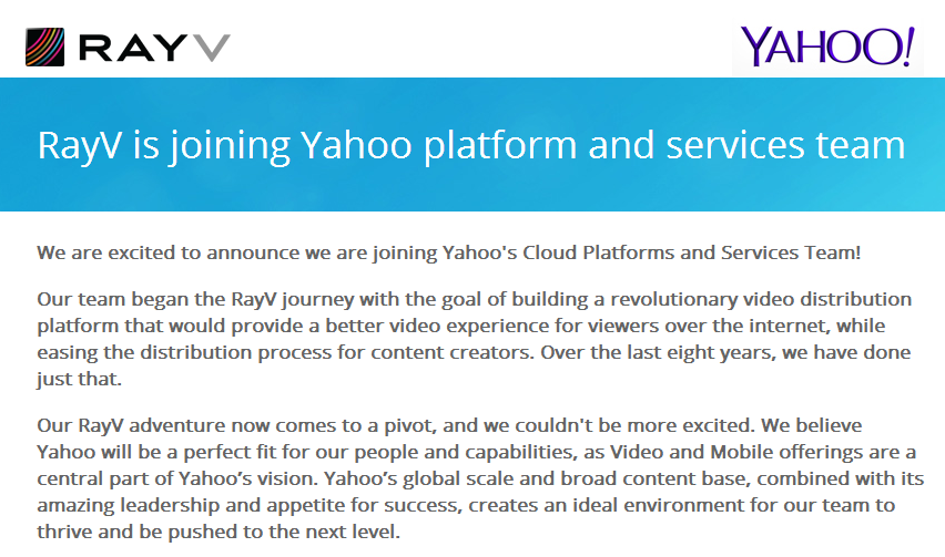 Yahoo Acquires Video Streaming Startup RayV
