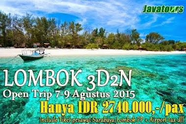 Paket tour murah Lombok promo 2015 pesawat
