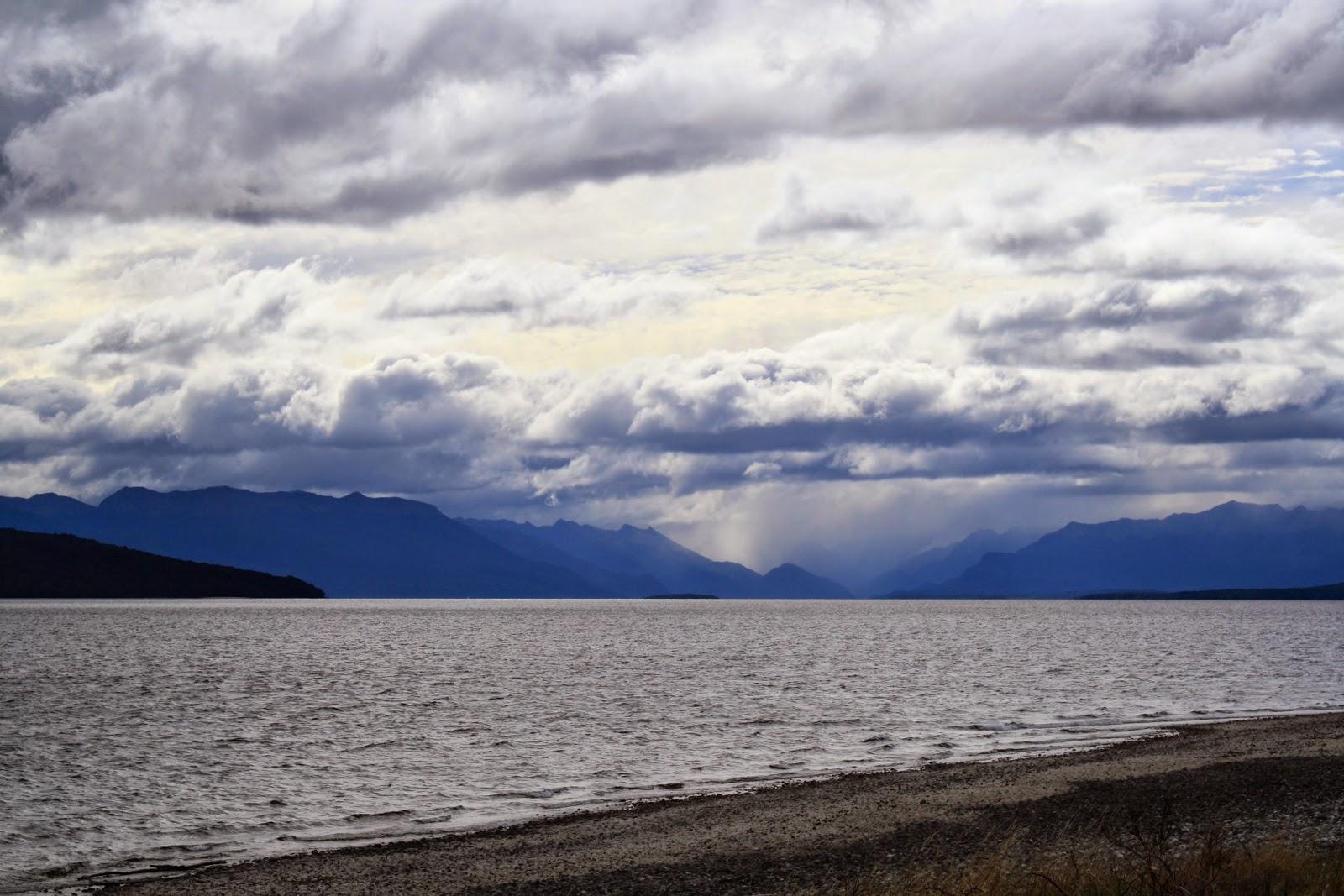 Lake Te Anau, looking cold and grey.