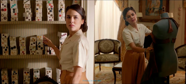 Sira Quiroga blusa rosa pastel y pantalón camel. El tiempo entre costuras. Capítulo 4.