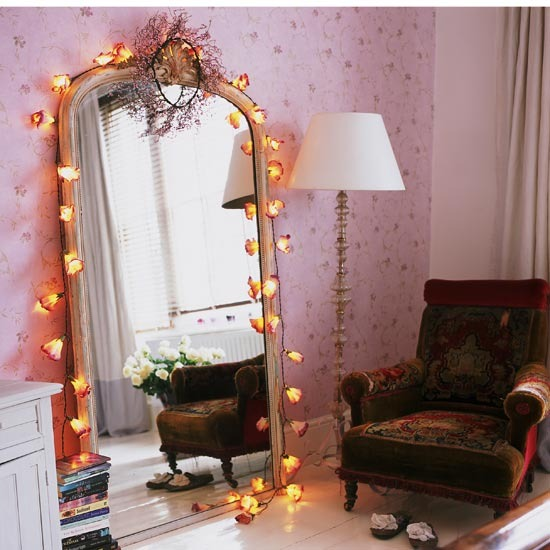 shabby chic fairy lights and how to hang them. Black Bedroom Furniture Sets. Home Design Ideas