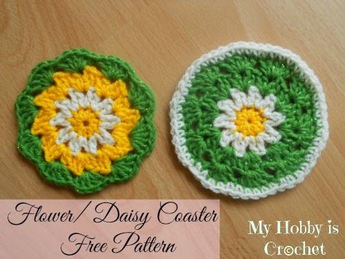 Free Crochet Daisy Coaster Pattern : My Hobby Is Crochet: 10 Free Crochet Flower Patterns by My ...
