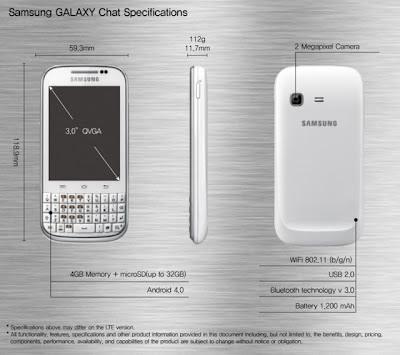 Spesifikasi,Harga Samsung Galaxy Chat: