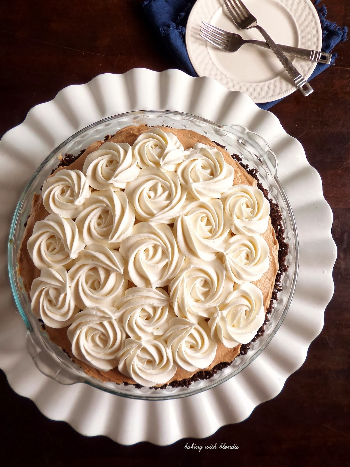 French Silk Chocolate Pie with Whipped Cream Rosettes and Thin Mint Crust
