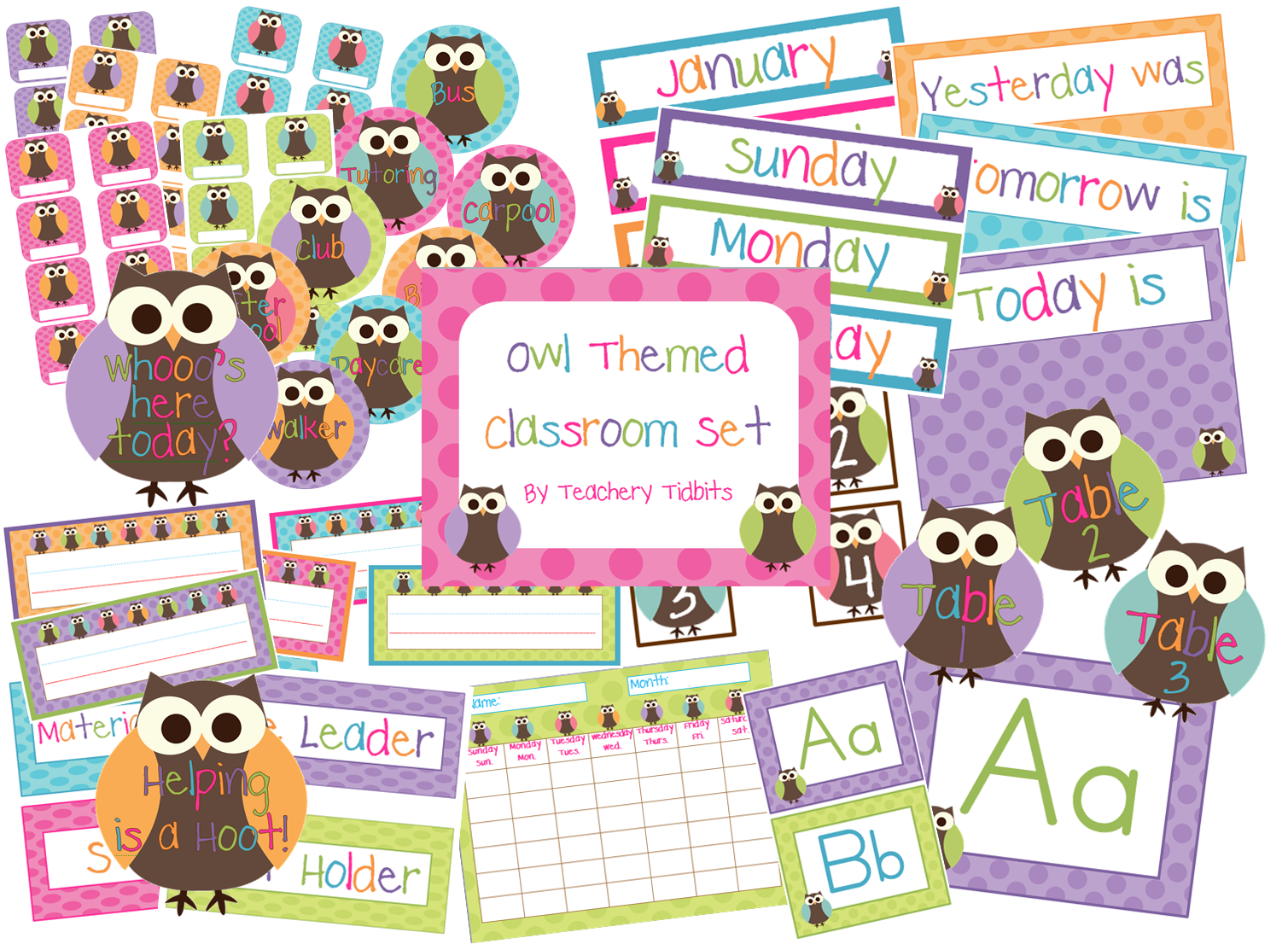 Cute Owl Classroom Decorations ~ Teachery tidbits followers giveaway